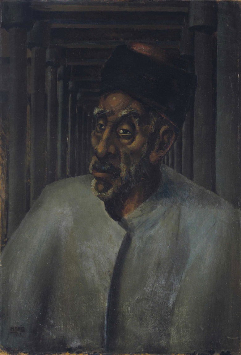 Mahmoud Saïd (Egyptian, 1897-1964), Le Vieux Cheikh. Oil on board, 38⅛ x 26 in (97 x 66 cm). This lot was offered in Modern & Contemporary Art  on 18 October 2016 at Christie's in Dubai and sold for $307,500