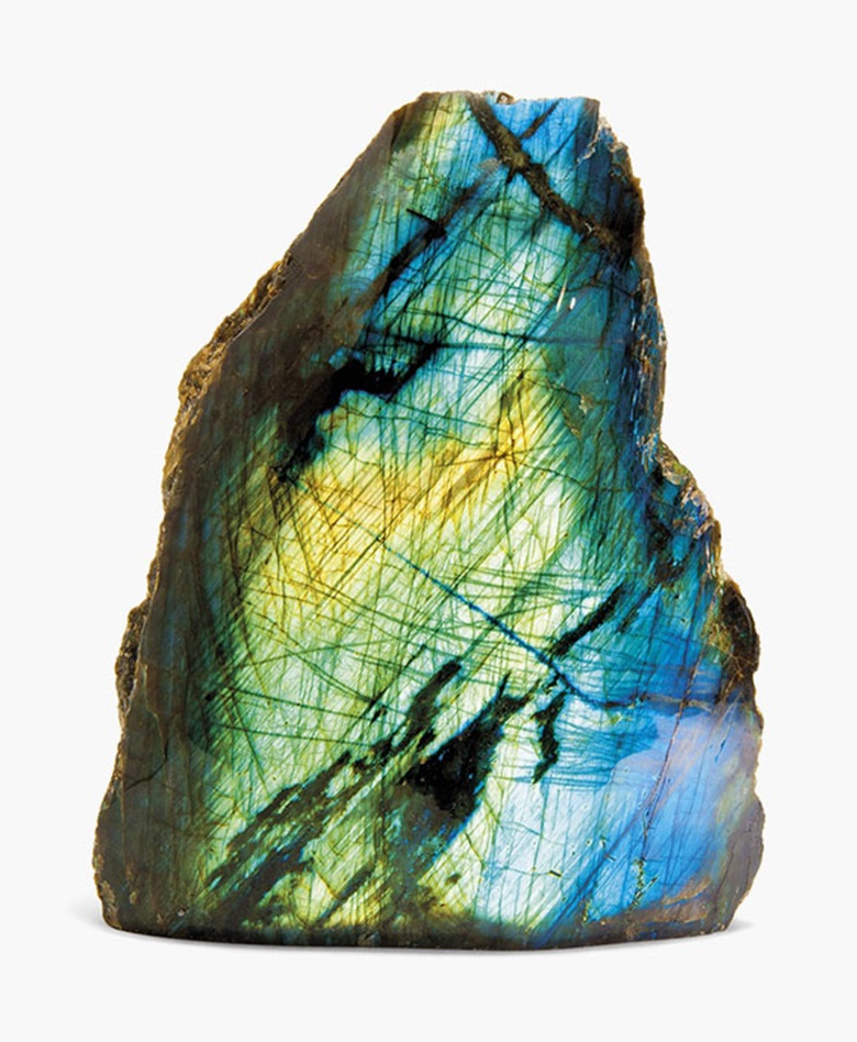 A specimen of labradorite. Madagascar. 11½ in (24 cm) high. This lot was offered in Science & Natural History on 19 October 2016 at Christie's in London and sold for £2,375