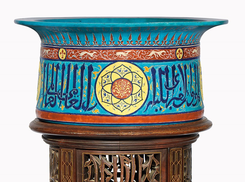 An impressive Mamluk-style basin on its stand. Collinot & Cie, Boulogne, France, c. 1860-1880. 19¾ in (50.3 cm) diameter; 56¼ in (143 cm) high with stand. Estimate £10,000-15,000. This lot is offered in Art of the Islamic and Indian Worlds on 20 October 2016 at Christie's in London, King Street