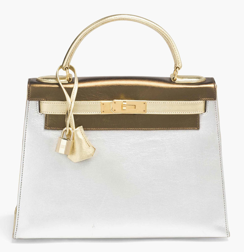 Rare Kelly bag 28 in tri-coloured lambskin leather in gold, silver and bronze, gilt decoration. Hermès, 1992. Sold for €91,500 on 9 March 2015