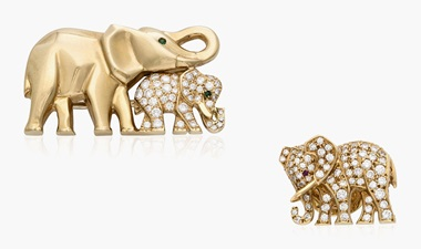 Cartier elephant brooch and pin set. Estimate $3,000-5,000. This lot is offered in Christies Jewels Online, 12-20 October 2016, Online
