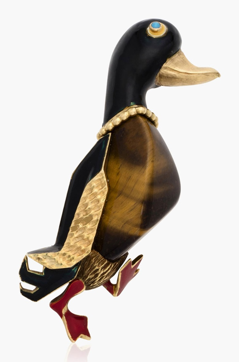 Cartier multigem enamel duck brooch. Estimate $3,500-5,000. This lot is offered in Christies Jewels Online, 12-20 October 2016, Online