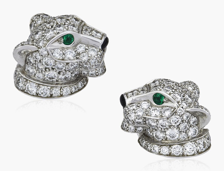 Cartier 'Panthère de Cartier' diamond, emerald and onyx earrings. Estimate $5,000-7,000. This lot is offered in Christies Jewels Online, 12-20 October 2016, Online