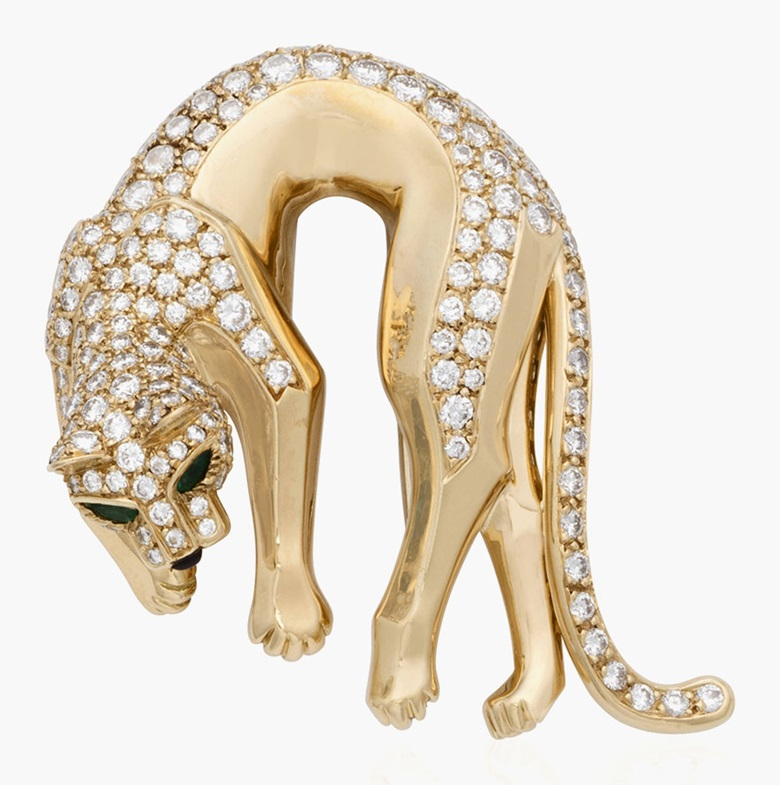 Cartier 'Panthère de Cartier' diamond-set brooch. Estimate $7,000-10,000. This lot is offered in Christies Jewels Online, 12-20 October 2016, Online