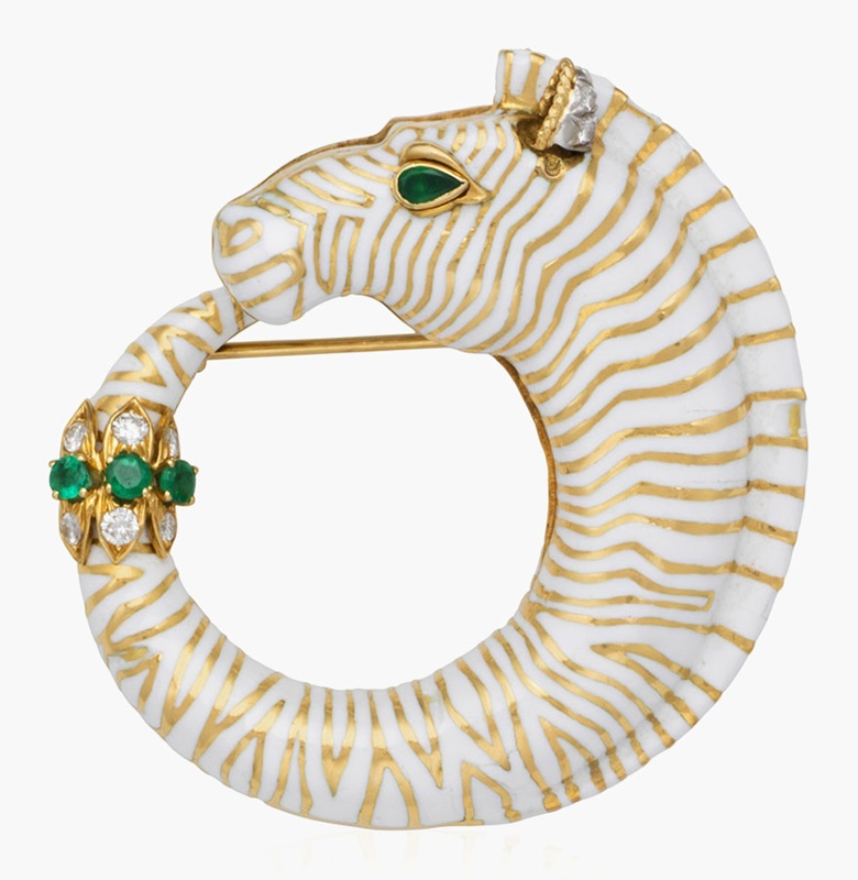 David Webb zebra enamel and multigem brooch. Estimate $4,000-6,000. This lot is offered in Christies Jewels Online, 12-20 October 2016, Online