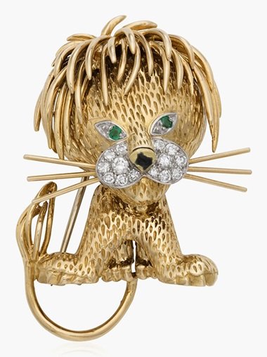Van Cleef & Arpels 'lion ébouriffé' brooch. Estimate $4,000-6,000. This lot is offered in Christies Jewels Online, 12-20 October 2016, Online