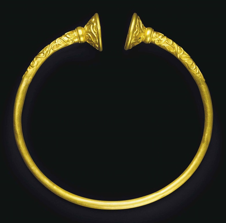 A Celtic gold torque. C. late 4th century BC. 7⅛ in (18 cm) wide. Estimate $120,000-180,000. This lot is offered in Antiquities on 25 October 2016 at Christie's in New York, Rockefeller Plaza