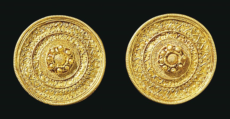 A pair of Etruscan gold ear studs. C. 530-500 BC. Each 1¼ in (3.3 cm) diameter. Estimate $30,000-50,000. This lot is offered in Antiquities on 25 October 2016 at Christie's in New York, Rockefeller Plaza