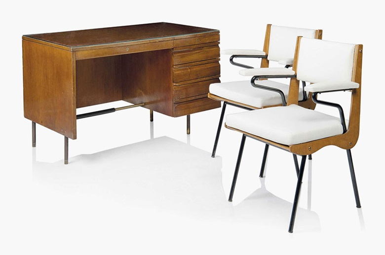 Carlo de Carli (1910-1999), A desk and a pair of armchairs, 1949. Stained walnut, brass, glass, leather, painted steel, upholstery desk. Desk 30¼ in (77 cm) high; 47 in (119.5 cm) wide; 27½ in (70 cm) deep; each chair 33¾ in (85.5 cm) high; 22½ in (57 cm) wide; 20¾ in (52.5 cm) deep. Estimate £6,000-9,000. This lot is offered in Design on 26 October 2016 at Christie's in London, King Street