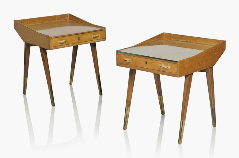 Carlo de Carli (1910-1999), A pair of bedside tables, 1949. Walnut, birch veneer, brass, glass, acrylic. 19½ in (49.5 cm) high; 16¾ in (42.5 cm) wide; 17¾ in (45 cm) deep. Estimate £4,000-6,000. This lot is offered in Design on 26 October 2016 at Christie's in London, King Street