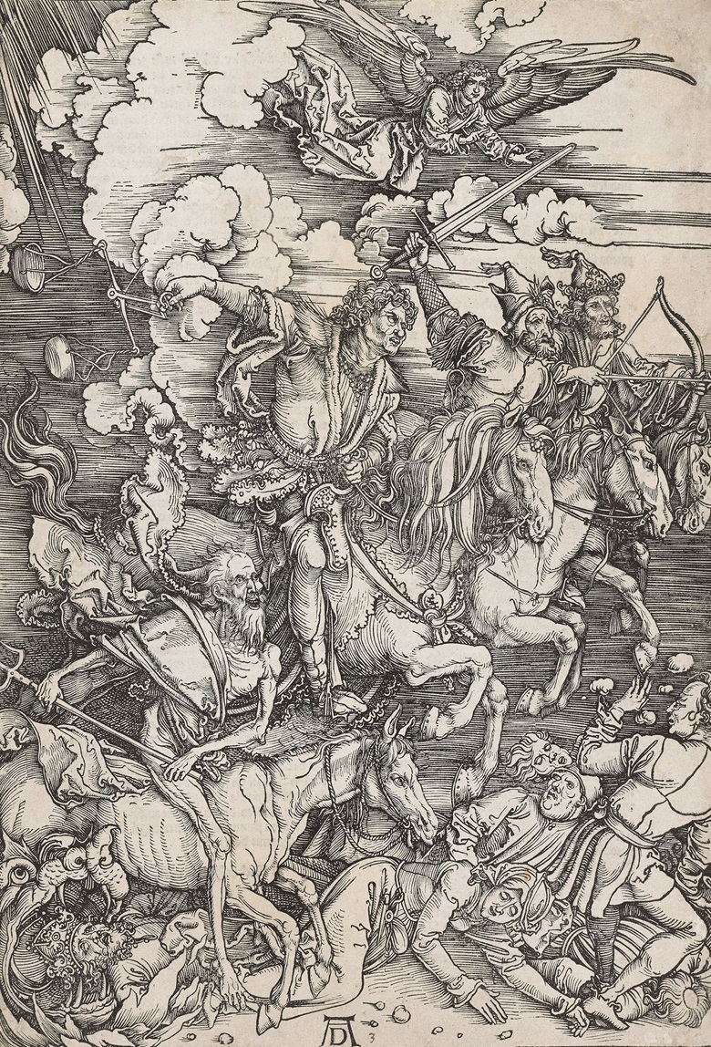 Albrecht Dürer (1471-1528), The Four Horsemen, From The Apocalypse, circa 1497-98. Sheet 394 x 279 mm. Estimate $25,000-35,000. This lot is offered in Death and Desire - The Collection of Giancarlo Beltrame, 25 October - 3 November 2016, Onlinee