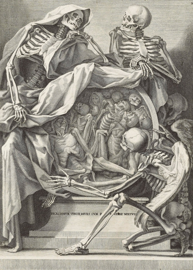 Anonymous Italian, 18th Century, Memento Mori (INGREDIMVR CVNCTI, DIVES CVM PAVPERE MIXTVS), c. 1750. Plate 315 x 226 mm, sheet 457 x 358 mm. Estimate $600-800. This lot is offered in Death and Desire - The Collection of Giancarlo Beltrame, 25 October - 3 November 2016, Onlinee