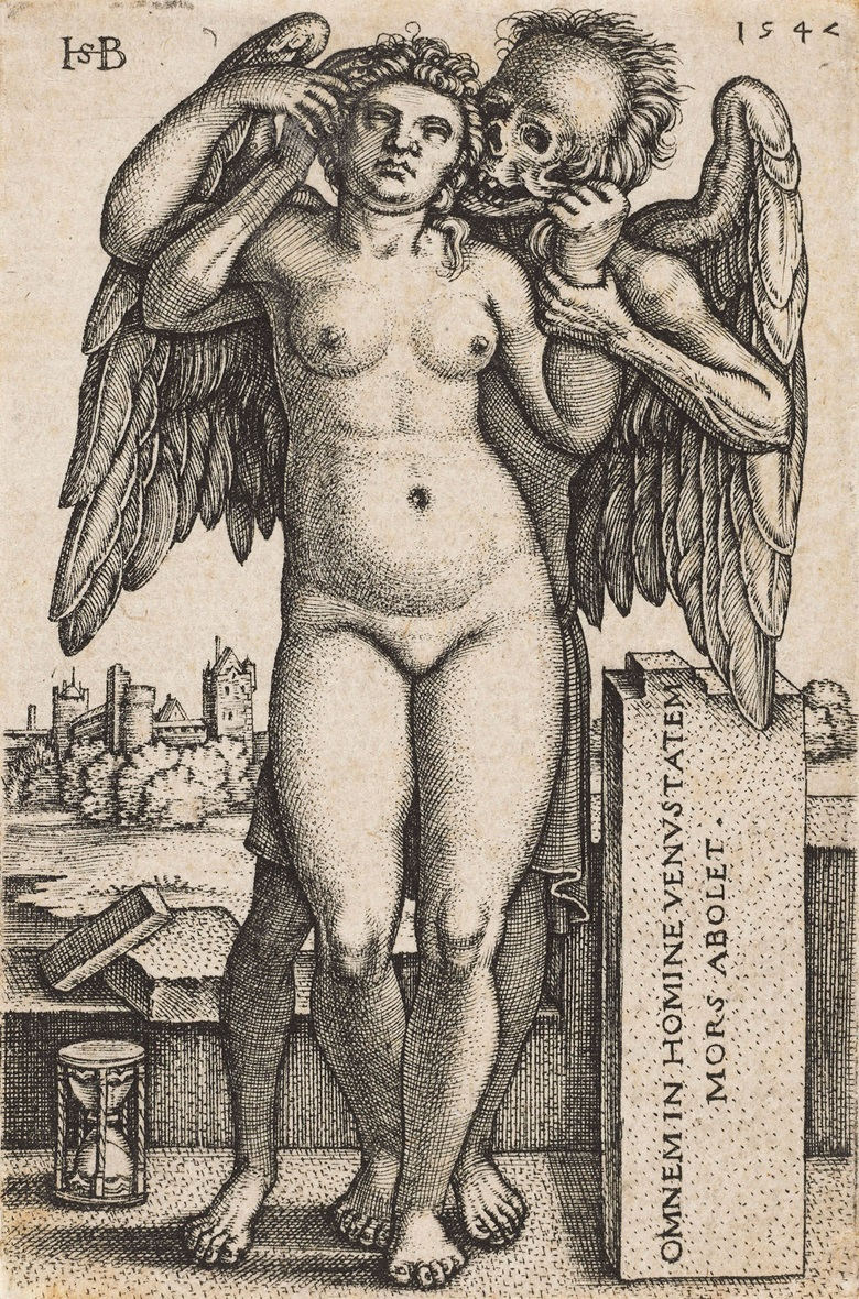 Hans Sebald Beham (1500-1550), Death and the Standing Nude Woman, 1547. Sheet 74 x 49 mm. Estimate $4,000-6,000. This lot is offered in Death and Desire - The Collection of Giancarlo Beltrame, 25 October - 3 November 2016, Onlinee