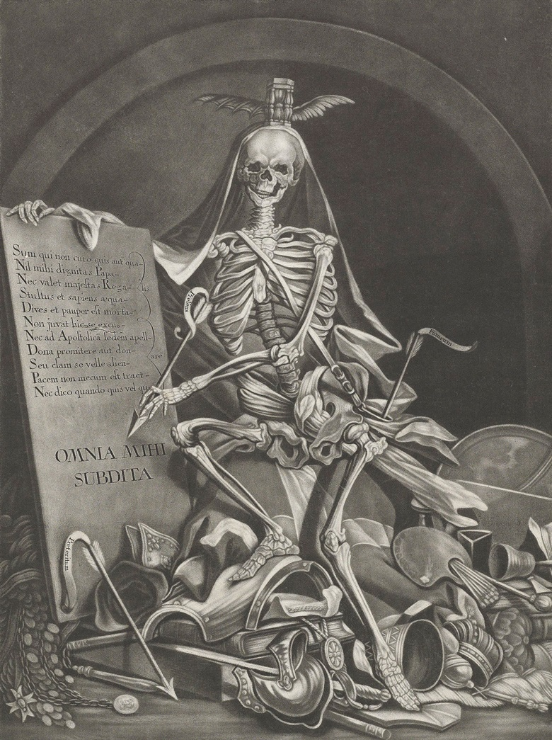 Johann Jacob Ridinger (c. 1736-1784) after Johann Elias Ridinger (1698-1767, The Rule Of Death (OMNIA MIHI SUBDITA), c. 1760. Sheet 575 x 415 mm. Estimate $2,500-3,500. This lot is offered in Death and Desire - The Collection of Giancarlo Beltrame, 25 October - 3 November 2016, Onlinee