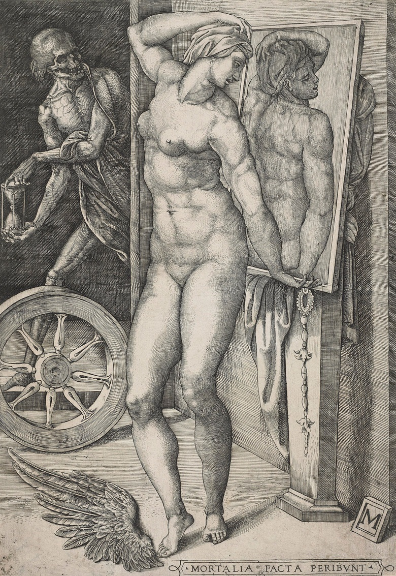 Monogrammist M (Italian School, 16th century), Death Surprising A Nude Woman (MORTALIA FACTA PERIBVNT), c. 1530-80. Sheet 352 x 248 mm. Estimate $8,000-12,000. This lot is offered in Death and Desire - The Collection of Giancarlo Beltrame, 25 October - 3 November 2016, Onlinee