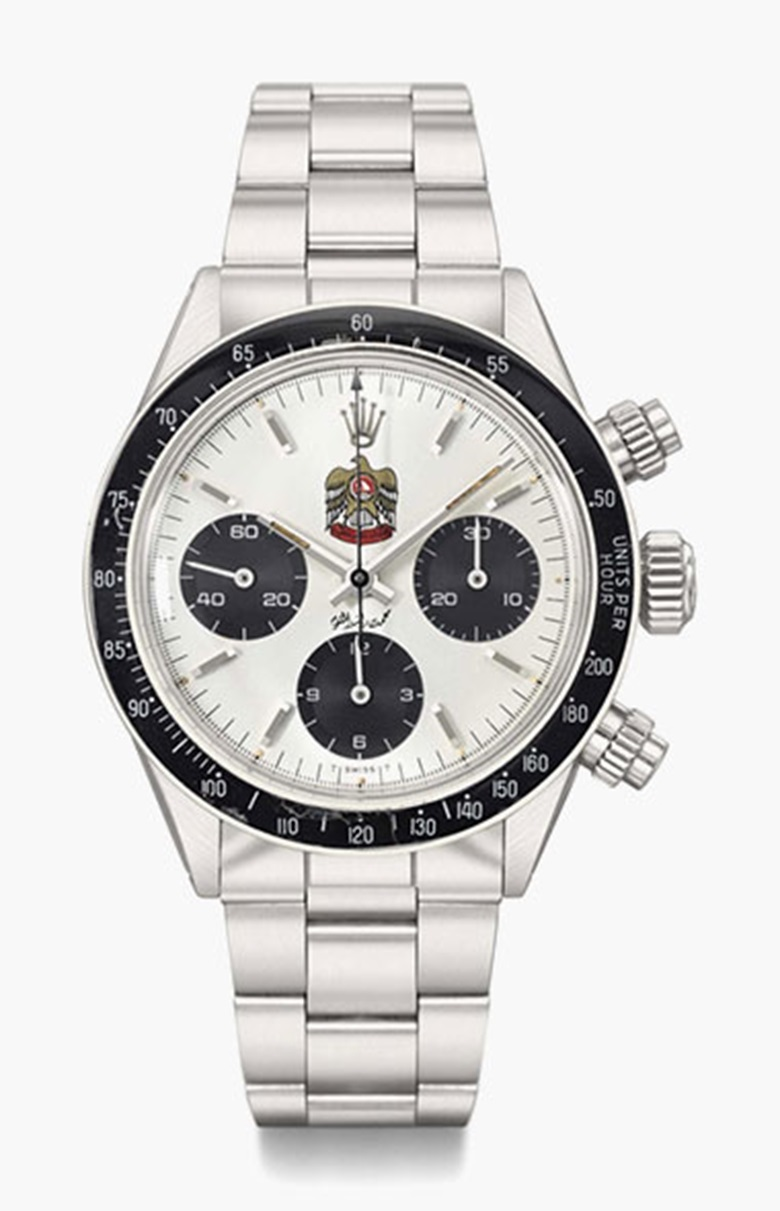 Rolex. A fine and very rare stainless steel chronograph wristwatch with bracelet, made for the UAE market. Ref. 6263, Case No. 3'655'281, c.  1974. This lot was offered in Rare Watches Including Nautilus 40 Part II on 14 November 2016 at Christie's in Geneva and sold for CHF 235,500