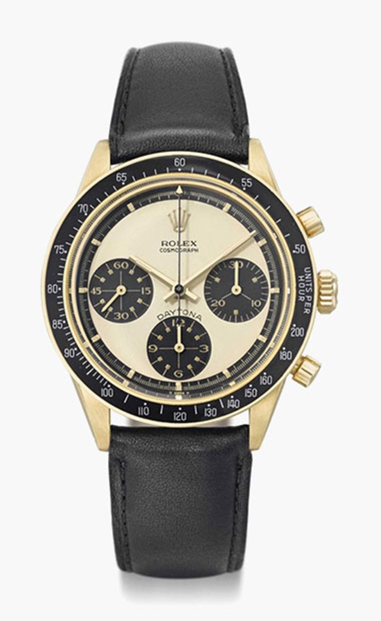 Rolex. A fine, rare and attractive 18K gold chronograph wristwatch with Paul Newman dial. Signed Rolex, Cosmograph, Daytona, ref. 6241, case no. 1'947'328, circa 1969. This lot was offered in Rare Watches Including Nautilus 40 Part II on 14 November 2016 at Christie's in Geneva and sold for CHF 295,500