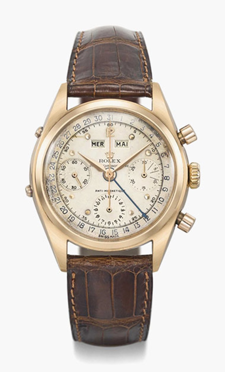 Rolex. A highly rare and very attractive 18K pink gold chronograph wristwatch with two-tone dial. Signed Rolex, Oyster Chronograph, anti magnetic, Ref. 6036, case no.692397, circa 1961. This lot was offered in Rare Watches Including Nautilus 40 Part II on 14 November 2016 at Christie's in Geneva and sold for CHF 223,500