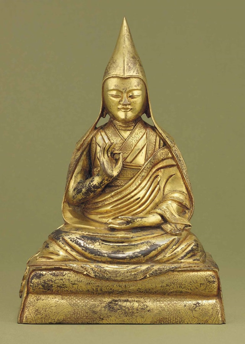 A gilt-bronze figure of a Lama. 17th-18th century. 9 in (22.6 cm) high. This lot was offered in Chinese Ceramics & Works of Art  on 8 November 2016 at Christie's in London and sold for £30,000