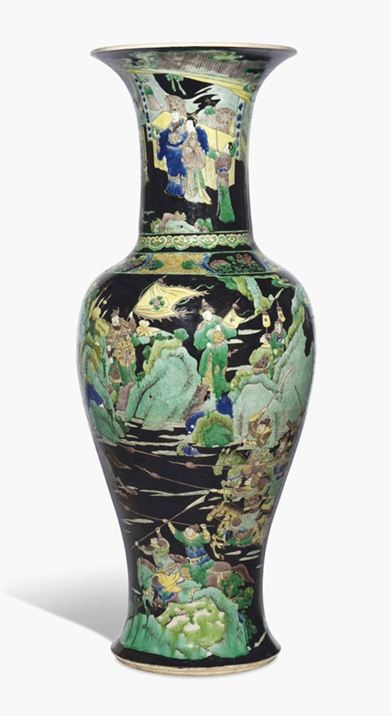 A large famille verte baluster shaped vase. Kangxi period (1662-1722). 29¼ in (74.3 cm) high. This lot was offered in Chinese Ceramics & Works of Art  on 8 November 2016 at Christie's in London, King Street