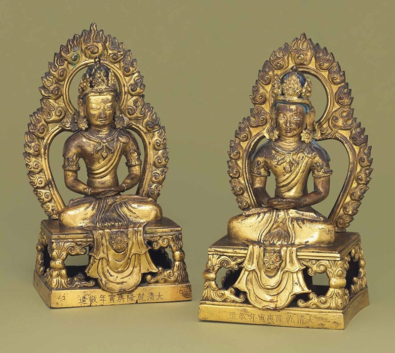Two gilt-bronze models of Amitayus. Qianlong period, dated by inscription to c. 1770. 8¼ in (21 cm) high. This lot was offered in Chinese Ceramics & Works of Art  on 8 November 2016 at Christie's in London and sold for £17,500