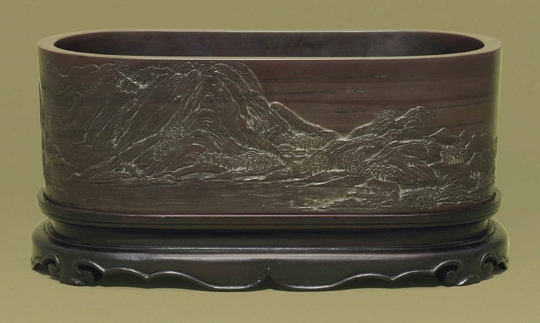 A large and rare Duan stone washer. 18th century. 12½ in (31.6 cm) long. This lot was offered in Chinese Ceramics & Works of Art  on 8 November 2016 at Christie's in London and sold for £18,750