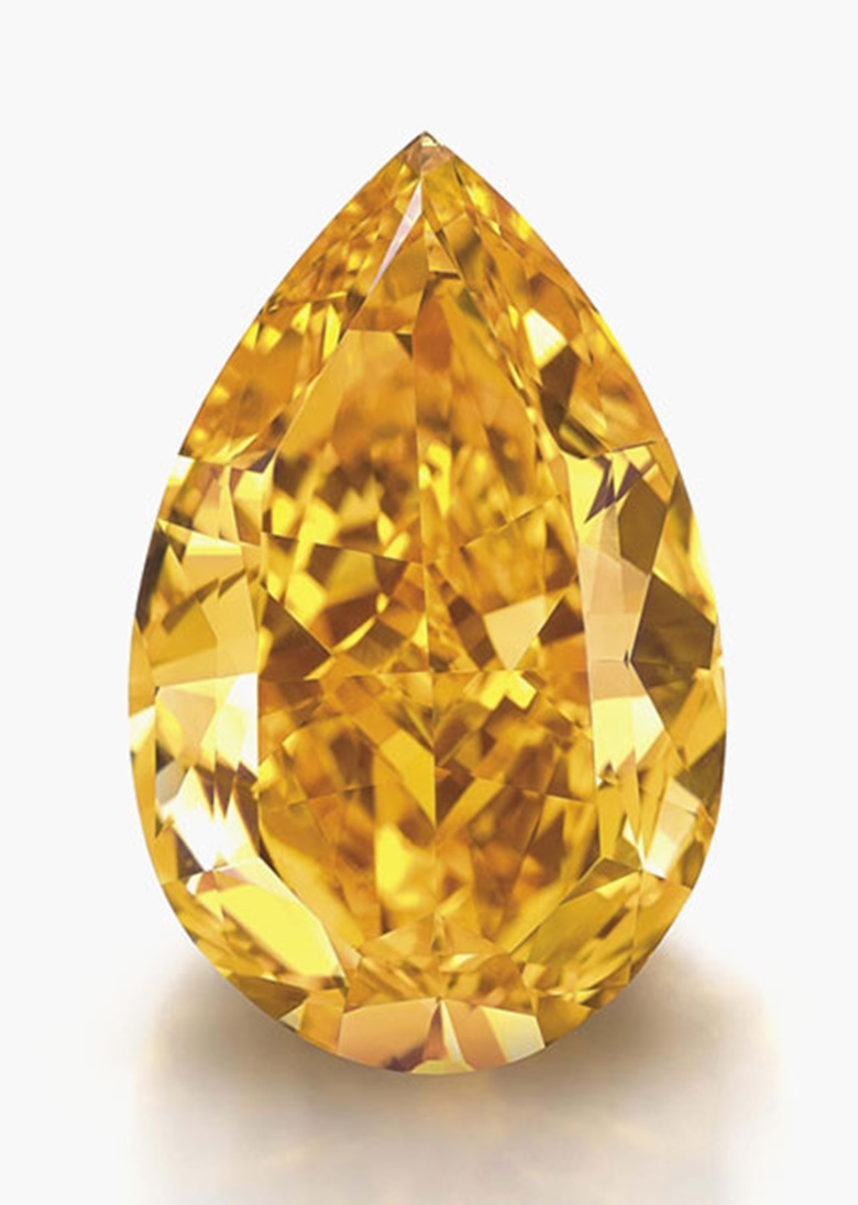 The Orange The largest Fancy Vivid orange diamond in the world. The Fancy Vivid orange pear-shaped diamond weighing approximately 14.82 carats. Sold for SFr32,645,000 on 12 November 2013