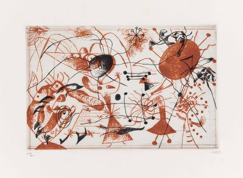 Joan Miró (1893-1983), Série Noire et Rouge One Plate, 1938. Image 6⅝ x 10⅛ in (168 x 257 mm); sheet 13 x 17⅞ in (330 x 454 mm). Estimate $30,000-50,000. This lot is offered in Prints & Multiples, 1-2 November 2016 at Christie's in New York