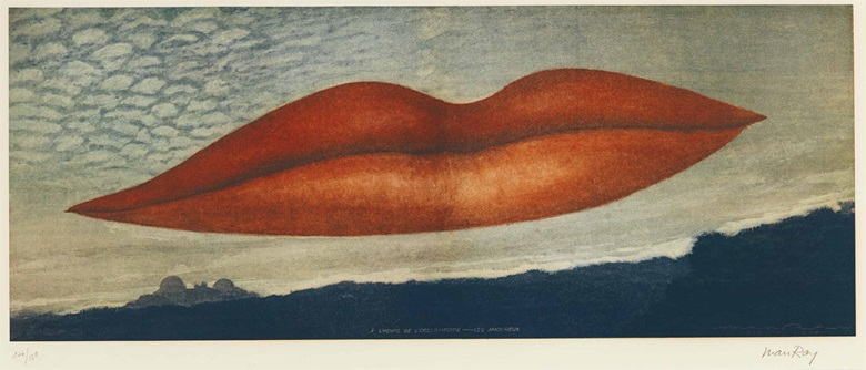 Man Ray (1890-1976), A LHeure de LObservatoire — Les Amoureux, 1970. Image 13⅞ x 35⅜ in (352 x 898 mm); sheet 25½ x 40⅞ in (648 x 1038 mm). Estimate $50,000-70,000. This lot is offered in Prints & Multiples, 1-2 November 2016 at Christie's in New York