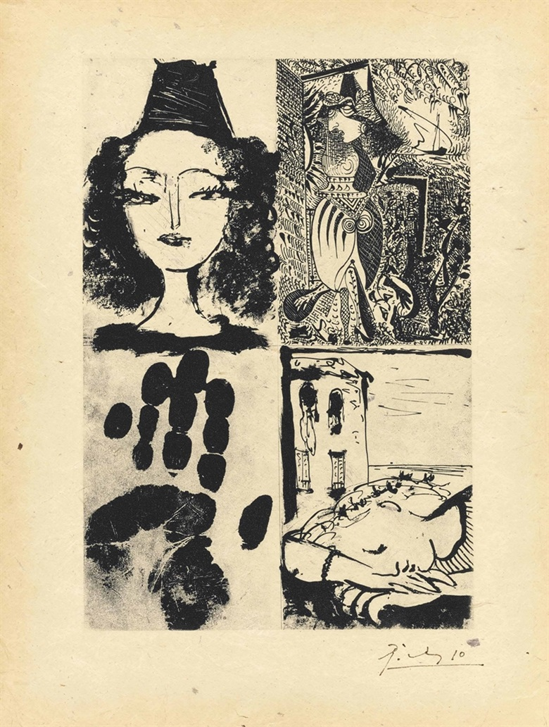 Pablo Picasso (1881-1973), Quatre Sujets pour la Barre dAppui, 1936. Image 12⅜ x 8½ in (314 x 216 mm); sheet 16½ x 12½ in (419 x 318 mm). Estimate $60,000-80,000. This lot is offered in Prints & Multiples, 1-2 November 2016 at Christie's in New York