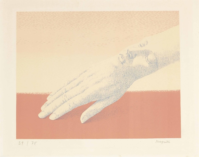 René Magritte (1898-1967), Les Bijoux Indiscrets, 1963. Image 9¾ x 11⅞ in (248 x 302 mm); sheet 12¾ x 16⅛ in (324 x 410 mm). Estimate $12,000-15,000. This lot is offered in Prints & Multiples, 1-2 November 2016 at Christie's in New York