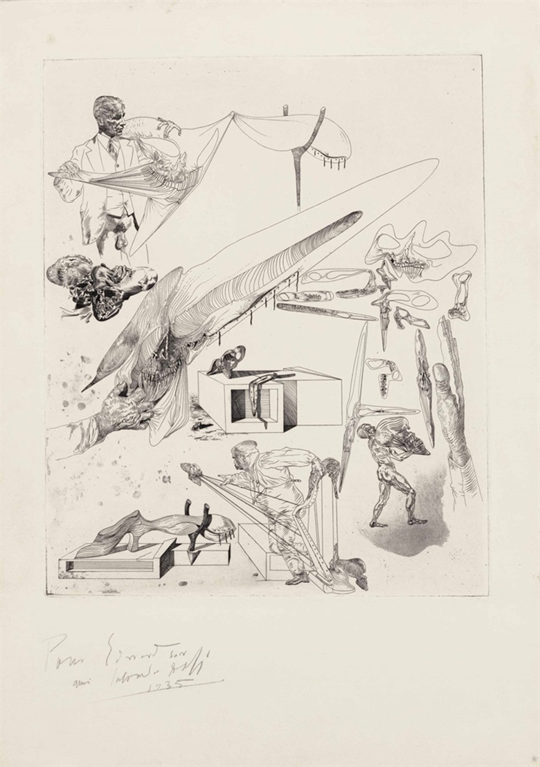 Salvador Dalí (1904-1989), Crânes Mous et Harpe Crânienne, 1935. Image 14½ x 11¾ in (368 x 299 mm); sheet 20⅞ x 14¾ in (530 x 375 mm). Estimate $30,000-50,000. This lot is offered in Prints & Multiples, 1-2 November 2016 at Christie's in New York