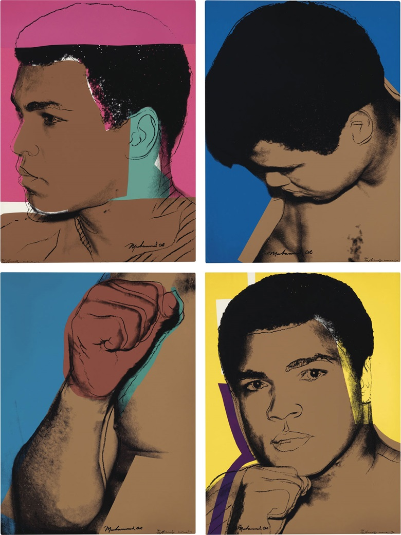 Andy Warhol (1928-1987), Muhammad Ali, 1978. The complete set of four screenprints in colours, on Strathmore Bristol paper, 1978, each signed in ink by the artist and subject, numbered 136150. Each Sheet 40 x 30 in (1016 x 762 mm). Estimate $120,000-180,000. This lot is offered in Prints & Multiples on 1-2 November 2016 at Christie's in New York, Rockefeller Plaza