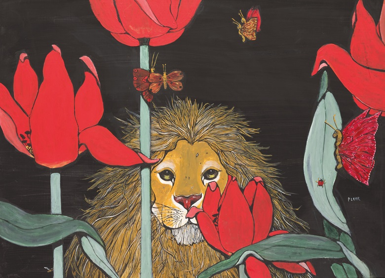 Fleur Cowles (American, 1908-2009), Lion Amongst Poppies and Butterflies. Oil on board, 21⅔ x 30 in (55.3 x 76.2 cm). Estimate £800-1,200. This lot is offered in Christies Interiors on 23 November 2016 at Christie's in London, South Kensington