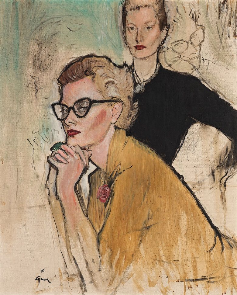 René Gruau (French, 1909-2004), Portrait of Fleur Cowles. Oil on canvas, 28 ¾ x 23 ¾ in (73 x 60.4 cm). Estimate £10,000-15,000. This lot is offered in Christies Interiors on 23 November 2016 at Christie's in London, South Kensington