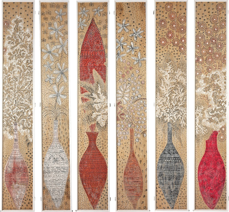 Six painted hessian panels, By Federico Pallavicini (Swiss, 1909-1989). Each panel 117 x 18⅜ in (297.2 x 47.3 cm) overall. Estimate £2,000-3,000. This lot is offered in Christies Interiors on 23 November 2016 at Christie's in London, South Kensington