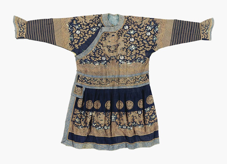 A blue-ground Kesi formal court robe, chao pao. Late 19th century. This lot was offered in Chinese Ceramics, Works of Art and Textiles Part II on 11 November 2016 at Christie's in London and sold for £13,750
