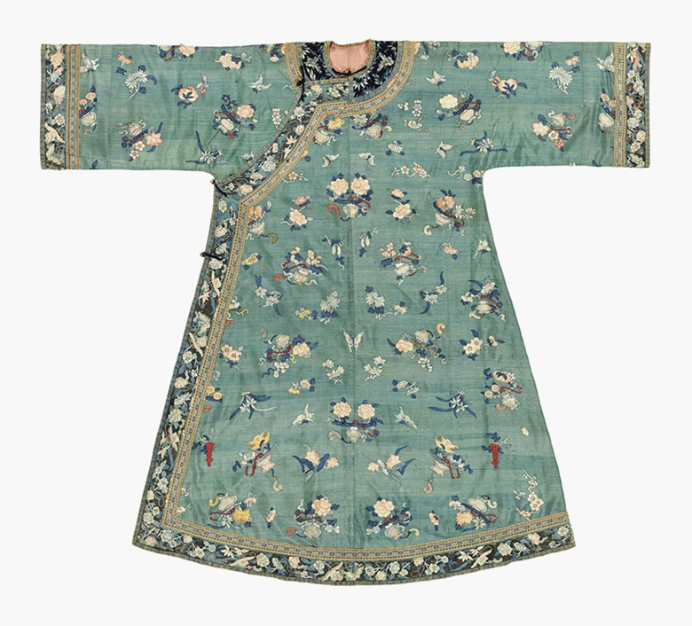 A jade-ground Kesi lady's robe. Mid-19th century. This lot was offered in Chinese Ceramics, Works of Art and Textiles Part II on 11 November 2016 at Christie's in London and sold for £5,250