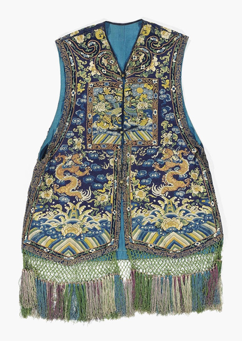 A purple and blue-ground embroidered 'mandarin duck' court waistcoat, Xiape. 19th century. This lot was offered in Chinese Ceramics, Works of Art and Textiles Part II on 11 November 2016 at Christie's in London and sold for £625