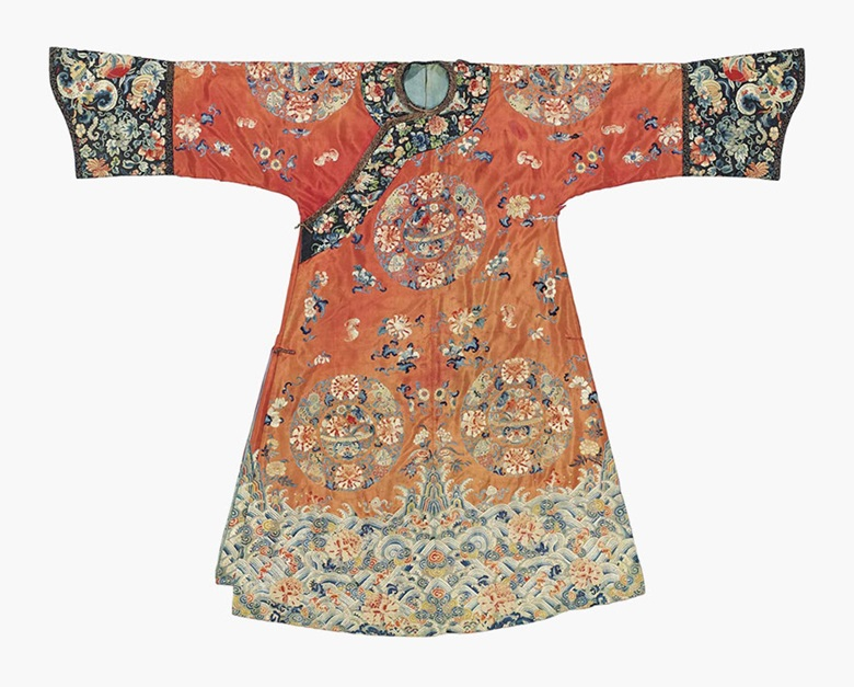 A red-ground Manchu lady's wedding robe. 19th century. This lot was offered in Chinese Ceramics, Works of Art and Textiles Part II on 11 November 2016 at Christie's in London and sold for £6,875