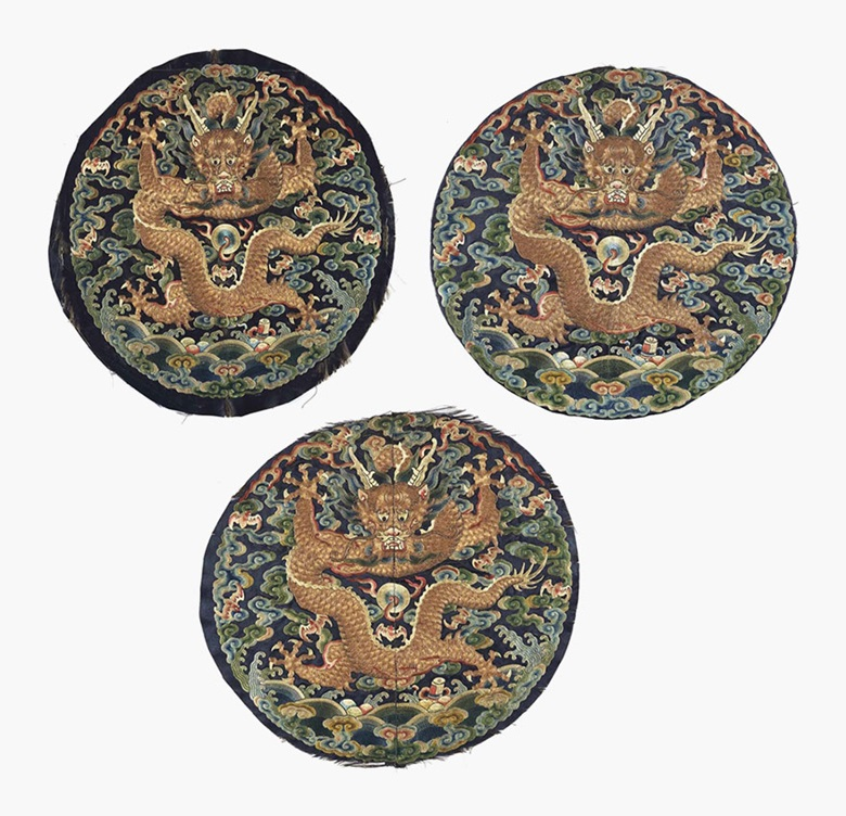 Three midnight-blue-ground embroidered dragon roundels for an imperial surcoat. Qianlong-Jiaqing period (1736-1820). This lot was offered in Chinese Ceramics, Works of Art and Textiles Part II on 11 November 2016 at Christie's in London and sold for £8,750