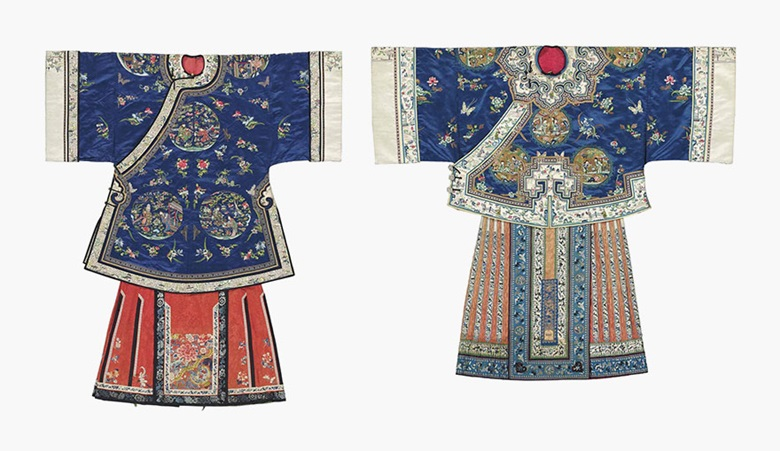 Two blue-ground informal lady's robes and two apron skirts. Late 19th century. This lot was offered in Chinese Ceramics, Works of Art and Textiles Part II on 11 November 2016 at Christie's in London and sold for £30,000