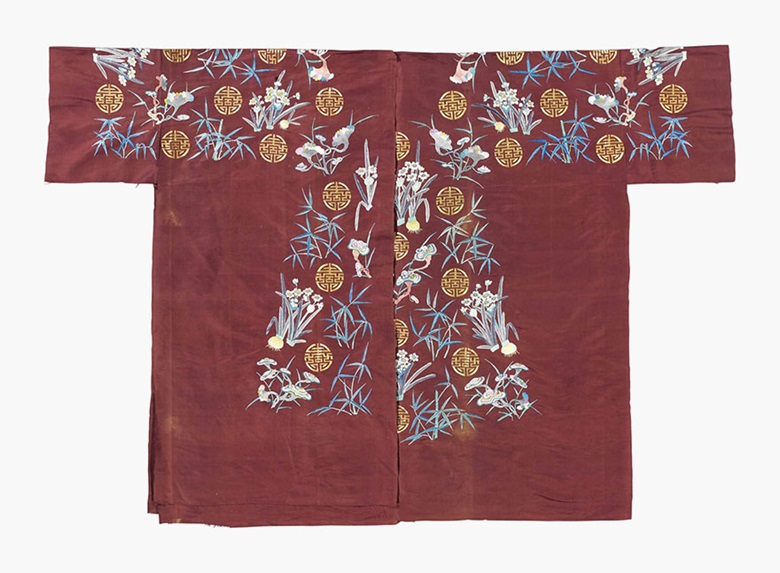 Yardage from an uncut maroon-ground ladys semi-formal unofficial robe. Late 19th century. 121¼ in x 86¾ in (308 x 220.3 cm). This lot was offered in Chinese Ceramics, Works of Art and Textiles Part II on 11 November 2016 at Christie's in London and sold for £3,000
