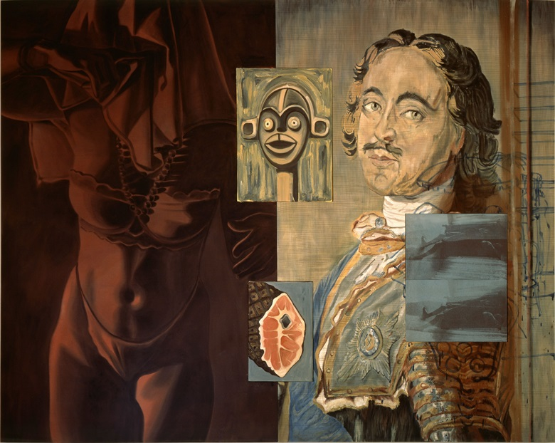 David Salle, Young Krainer, 1989. Acrylic and oil on canvas with two inserted panels. 84 x 104½ in (213.4 x 265.4 cm). © David SalleLicensed by VAGA, New York, NY. Courtesy of the artist and Skarstedt