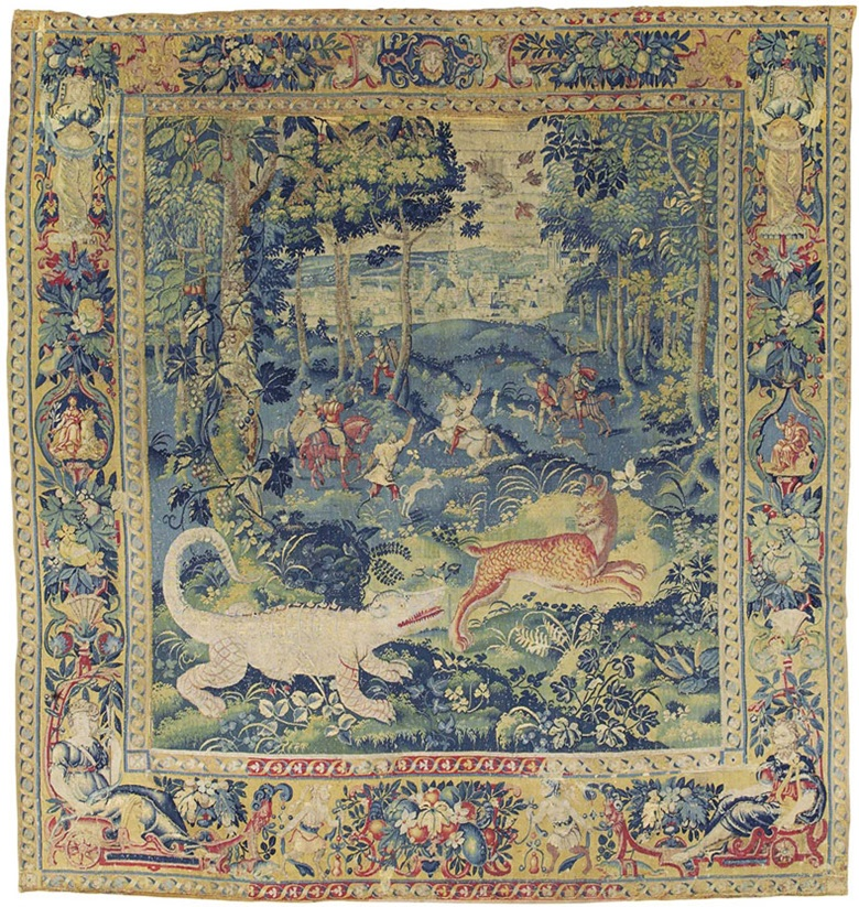 A Flemish game park tapestry. Late 16th century, probably Audenarde. 8 ft 11 cm x 8 ft 6 cm (273 cm x 260 cm). Estimate £15,000-20,000. This lot is offered in Noble & Private Collections Part I on 2 November 2016 at Christie's in London, King Street