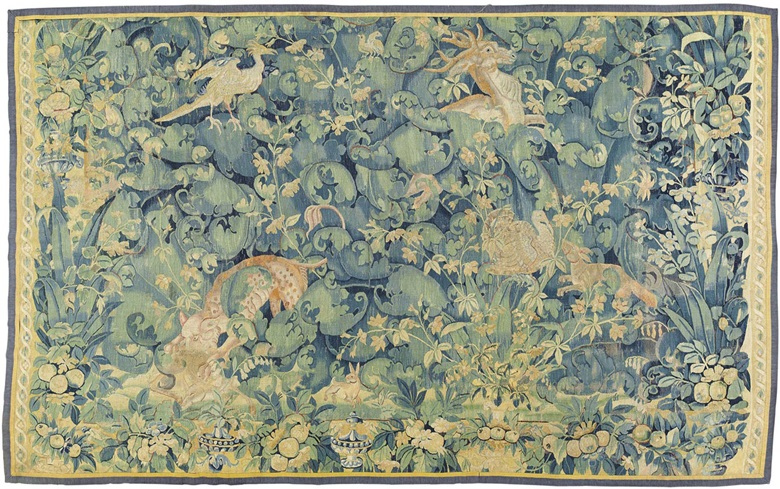 A Flemish large leaf verdure tapestry. Mid-16th century. 8 ft 1 in x 12 ft 10 in (245 x 393 cm). Estimate £12,000-18,000. This lot is offered in Noble & Private Collections Part I on 2 November 2016 at Christie's in London, King Street