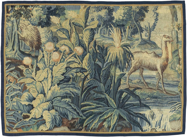 A Franco-Flemish exotic verdure tapestry fragment. Early 17th century and later. 4 ft 7 in x 6 ft 2 in (140 cm x 188 cm). Estimate £3,000-5,000. This lot is offered in Noble & Private Collections Part II on 3 November 2016 at Christie's in London, South Kensington