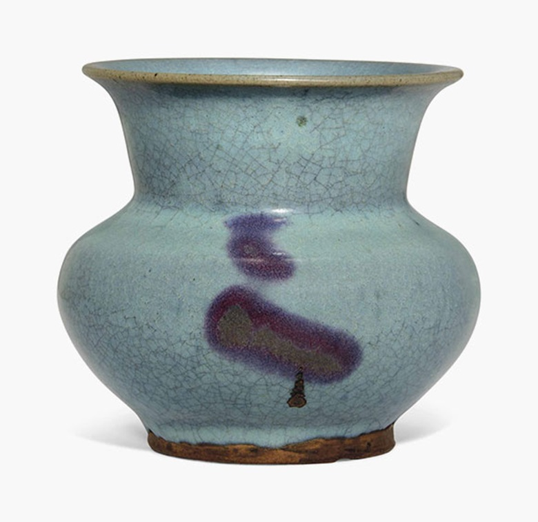 A Jun-glazed zhadou. Ming dynasty (1368-1644). 4⅝ in (11.7 cm) high. This lot was offered in Chinese Ceramics, Works of Art and Textiles Part II on 11 November 2016 at Christie's in London, South Kensington