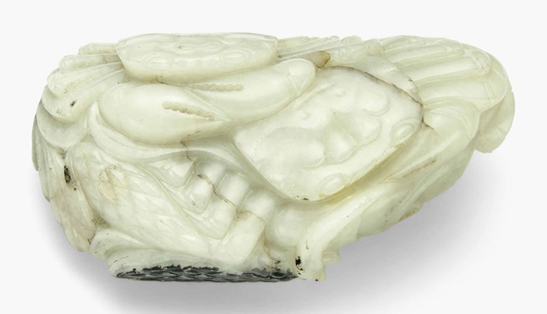 A mottled white and russet jade crab group. 18th century. 3⅝ in (9.2 cm) wide. This lot was offered in Chinese Ceramics, Works of Art and Textiles Part II on 11 November 2016 at Christie's in London and sold for £2,500