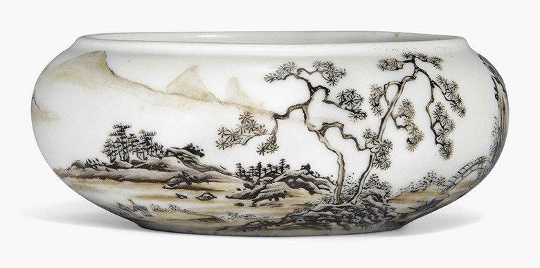A sepia-enamelled landscape brush washer, Xi. Yongzheng period (1723-1735). 4¼ in (11 cm) diam. This lot was offered in Chinese Ceramics, Works of Art and Textiles Part II on 11 November 2016 at Christie's in London and sold for £15,000